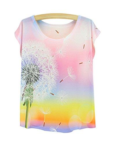 T Femme Courte Acvip Blouse Pissenlit Motif Manche Eté shirt Top BwdqA5