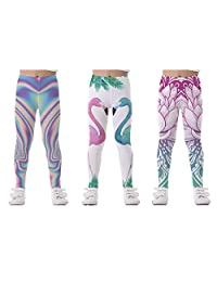 SARAMIN LIAM 2/3 Packs Tights Full Printed Stretch Girls Leggings Pants Kids and Children in S,M,L,XL (5-12 Years Old)
