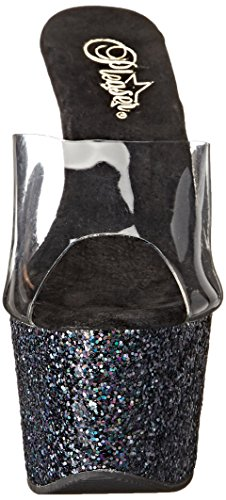 Pleaser Damen Adore 701Lg Sandalen, Transparent (Clr/Blk Holo Glitter), 42 (9 UK)