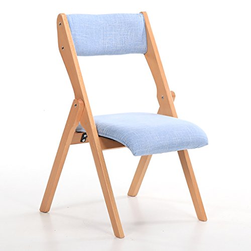 JHZDY Wooden Folding Chairs Beech Wood Folding Chairs Fabrics Single Solid Wood Dining Chairs Household Back Chairs Computer Chairs (Color : (Beechwood Folding Chair)