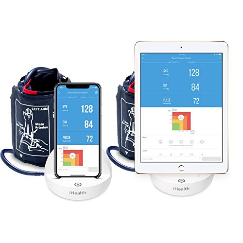 iHealth Ease Bluetooth Blood Pressure Monitor Cuff, Digital Upper Arm BP Monitor with Smart App, Wireless BP Meter With Bluetooth 4.0 and High Capacity 2200mAh rechargeable battery