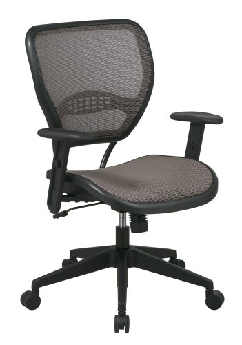 SPACE Seating AirGrid Latte Back and Mesh Seat, 2-to-1 Synchro Tilt Control, Adjustable Arms and Tilt Tension Nylon Base Managers Chair by Space Seating