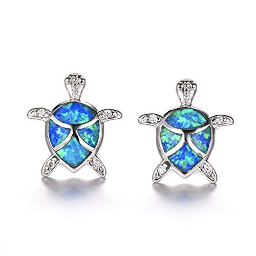 Vanessa Blue Opal Sea Turtle Stud Earrings Birthstone Jewelry Birthday for Her (Earrings-3 Blue) (Studs Sea Blue)