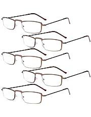 Eyekepper 5-Pack Stainless Steel Frame Half-Eye Style Reading Glasses Readers Black