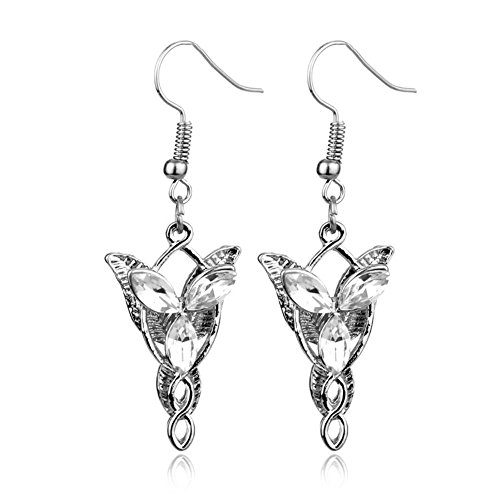 Sterling Silver plated Cubic Zirconia White Lord of the ring Fairy princess Dangle Earring -