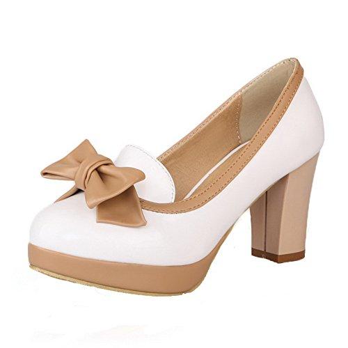 VogueZone009 Damen Mittler Absatz Rein Ziehen auf Lackleder Rund Zehe Pumps Schuhe, Weiß, 35