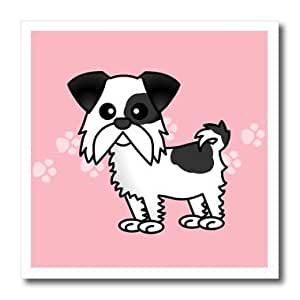 ht_10835_3 Janna Salak Designs Dogs - Cute Black and White Shih Tzu Pink with Paw Prints - Iron on Heat Transfers - 10x10 Iron on Heat Transfer for White Material