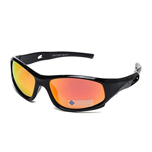 Sports Style Polarized Sunglasses Rubber Flexible Frame UV400 For Boys Girls (Black&black | Orange Mirrored Lens, black)