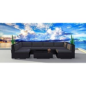 Urban Furnishing.net - Black Series 7b Modern Outdoor Backyard Wicker Rattan Patio Furniture Sofa Sectional Couch Set