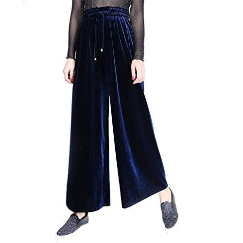 Vêtements Solide Croix Bretelles Pantalons Mode Bund Filles Automne Loisirs Longues Élégant Jupe Élastisch Blau Saphir Culotte Femmes Larges Couleur Velours 6xz6qw17n