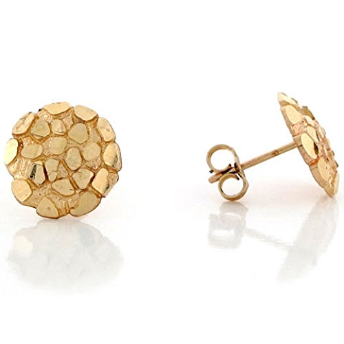 (14k Solid Yellow Gold 1.1cm Nugget Pin Earrings)