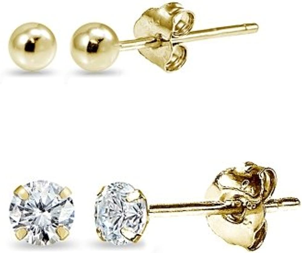 2 Pairs 14K Gold Unisex Mini Small Ball Bead and Tiny Round 2mm CZ Stud Earrings Set