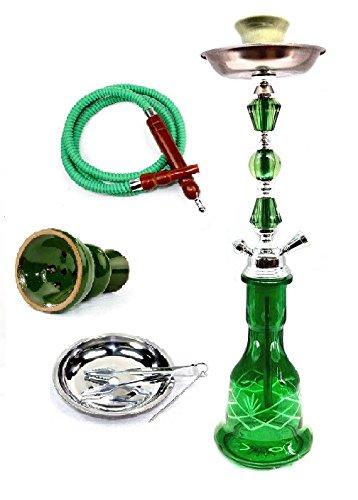 "Zebra Smoke Series: 22"" 1 Hose Hookah (C8) Complete Set Combo KIT Set w/Instant Charcoal (Green)"