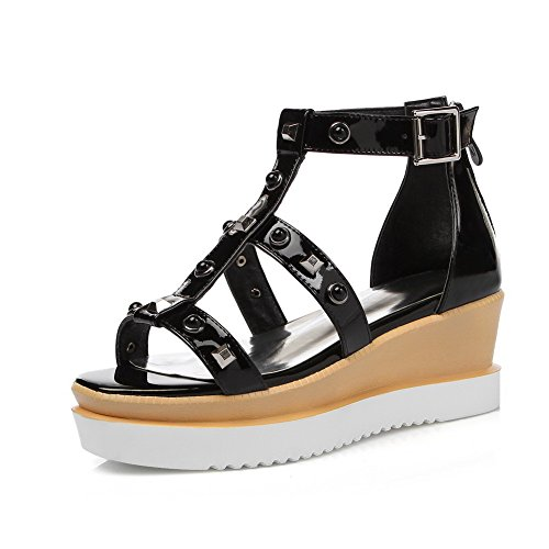 AmoonyFashion Womens Open Toe Zipper Leather Handmade Solid Kitten-Heels Sandals Black 5unc698fuu