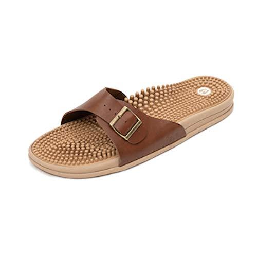 Revs Premium Reflexology & Acupressure Massage Sandals. Wear for Comfort, Health & Pain Relief (23cm / Women US 5-5.5 / Men US 4-4.5, Rustic Tan) Unisex, Vegan.