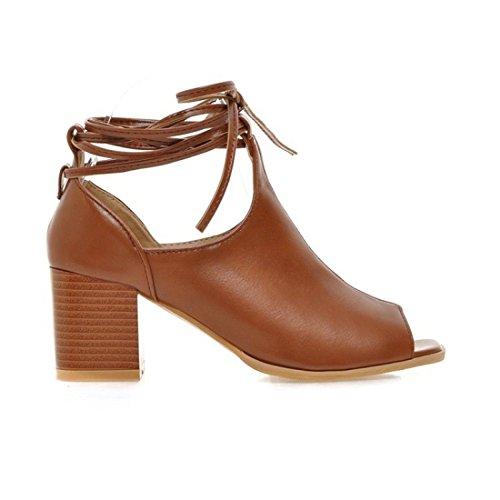 Grandes Empate Pescado de Pie con para de Pulsera Bowl Verano de Brown Mujer Boca Código Sandalias Zapatos Sandalia Mujer Mujer Sandalias OqpvaxC