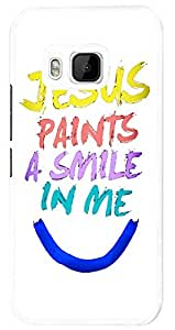 979 - Cool fun cute art jesus paints a smile in me colourful christian love faith Design For htc One M9 Fashion Trend CASE Back COVER Plastic&Thin Metal - White