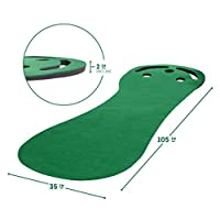 Milliard Premium Golf Putting Green Incline Mat for Indoor, Outdoor, Office and Home use with 3 Holes and Trap Cutouts 9'x3'