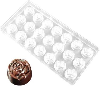 Chocolate Molde Caramelo TRANSPARENTE 3d BRICOLAJE EN FORMA DE ROSA POLICARBONATO Bandeja Pudin molde 21 orificios