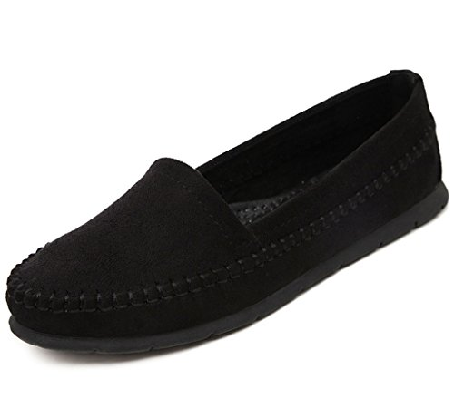 Maybest Women Casual Work Comfort Pelle Mocassino Flat Pumps Mocassini Piselli Scarpe Nere