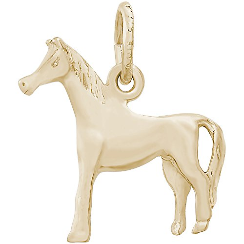 Rembrandt Charms 14K Yellow Gold 3-D Standing Horse Charm on a Rope Chain Necklace, (Gold 3d Horse Charm)