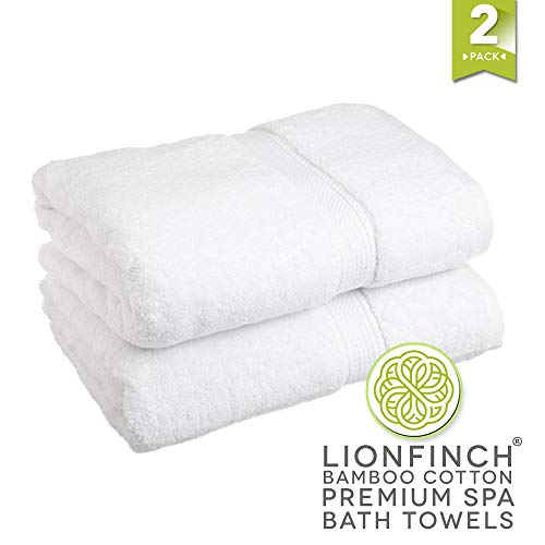Smooth Towel - LionFinch Bright Bamboo Bath Towels- Set of 2. Extra Large 70 Inches Long by 35 Inches Wide. Super Soft and Ultra Absorbent,