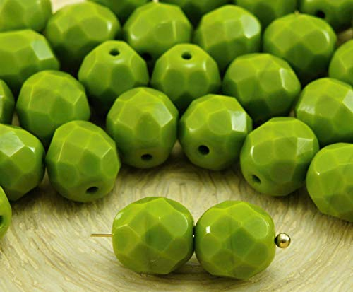 Czech Faceted Round Olive - 20pcs Opaque Olivine Olive Green Round Faceted Fire Polished Spacer Czech Glass Beads 8mm