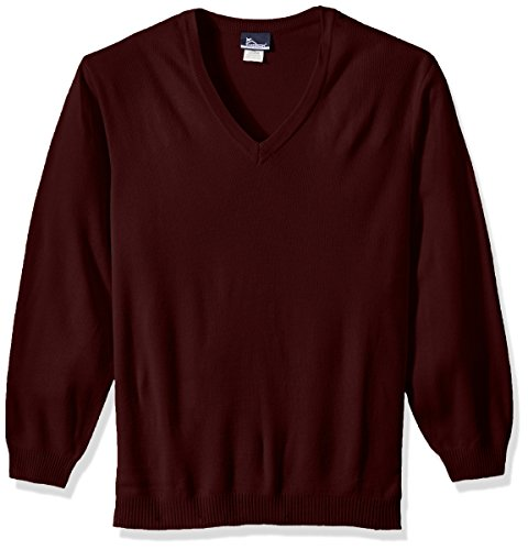 Classroom School Uniforms Men's Big and Tall Plus-Size Adult Unisex Long Sleeve V-Neck Sweater 2Xl-3Xl, Burgundy, 3XL ()