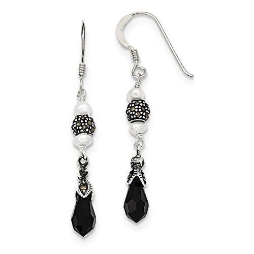 Black Onyx Freshwater Cultured Pearl Marcasite Drop Dangle Chandelier Earrings Fine Jewelry For Women Gift Set ()