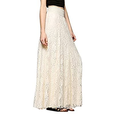 BODOAO Women Lace Double Layer Pleated Long Maxi Skirt Elastic Waist Skirt