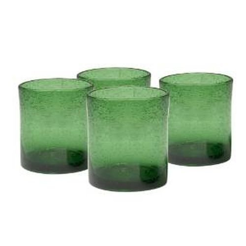 Artland Iris Double Old Fashioned Glasses, Green, Set of (Green Glass Tumblers)