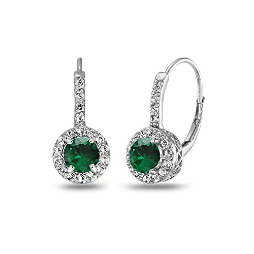 - Sterling Silver Created Emerald & White Topaz Round Dainty Halo Leverback Earrings