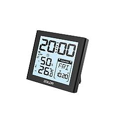BALDR Digital LCD Alarm Clock with Thermo-hygrometer (Black) Color Black