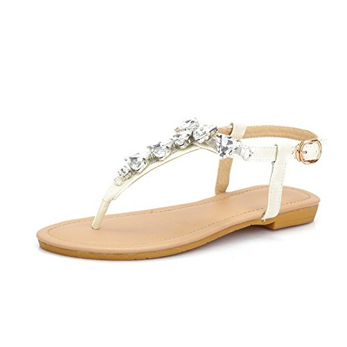 AllhqFashion Womens Cow Leather Studded Buckle Split Toe No Heel Sandals White