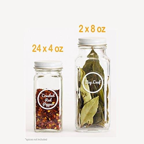 SpiceLuxe Premium Spice Jar Set -26 Empty Square Glass Jars,