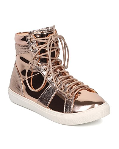 Women Metallic High Top Sneaker – Casual, Urban, Street Fashion – Lace Up Sneaker – GD89 By Liliana – Rose Gold (Size: 8.0)