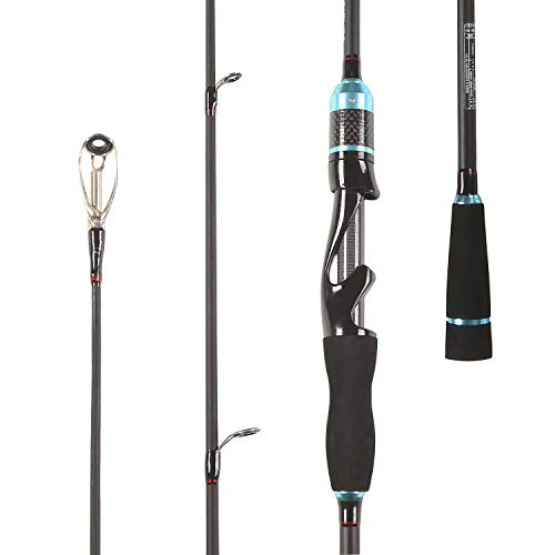 LurEra Bass Fishing Spinning Rod 24 Ton Carbon Inshore Trout Spin Fishing Rod 2 Pieces Portable 7' Medium Light Action Fishing Pole for All Species in Freshwater(Black)