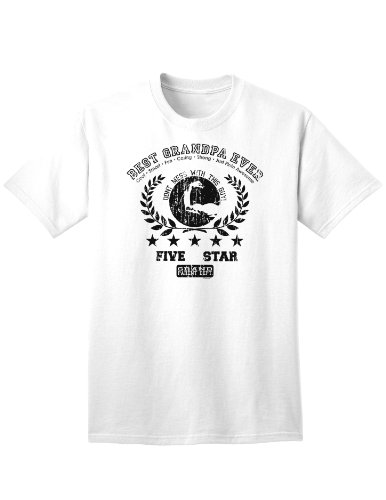 Best Grandpa Ever Distressed Collegiate Adult T-Shirt - White - 2XL
