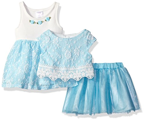 Youngland Baby Girls 3 Pc Set Dress Pop Over Top Tutu Skirt