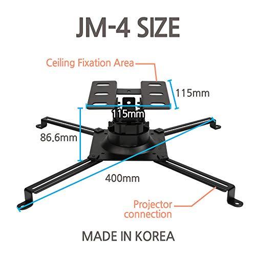 SeaMechanics JM-4B Projectors Mount Drop Ceiling Black Bracket - Fits All Projectors, 360 Degress Rotatable swivels/tilts for Large projectors