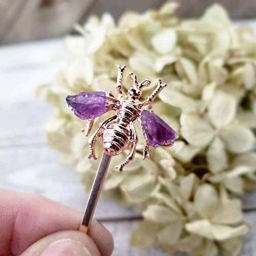 Spring bobby pin - Bee hair pin - honey bee hair accessories - gold insect hair jewelry - gemstone hair pins - spring accessories - citrine - amethyst - moonstone - gold bee - silver bee