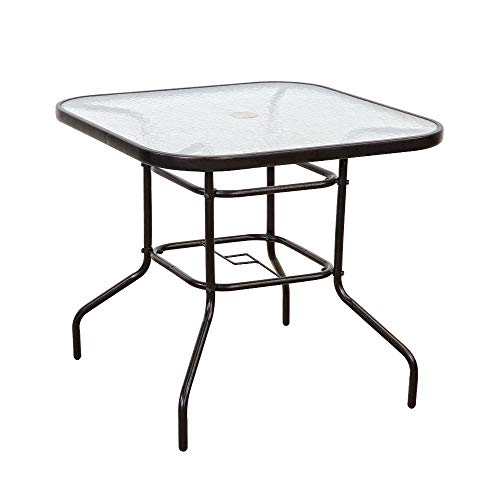 FurniTure Outdoor Patio Table Patio Tempered Glass Table 32'' Patio Dining Tables with Umbrella Hole Perfect Garden Deck Lawn SquareTable, Dark Chocolate by FurniTure