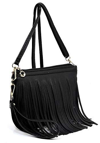 Hipster Wristlet Vintage Bag 091 Body Western Bag Shoulder Tassel Clutch Cross Elphis Black Fringe q4IYpnq8