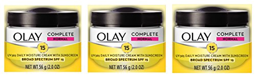 Spf 15 Sunscreen Moisture Cream - Face Moisturizer by Olay Complete All Day UV Moisture Cream, SPF 15, Normal Skin, 2 Ounce (Pack of 3)