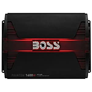 BOSS Audio PT1600 Phantom 1600 Watt, 2 Channel, 2/4 Ohm Stable Class A/B, Full Range, Bridgeable, MOSFET Car Amplifier with Remote Subwoofer Control