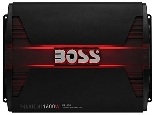 BOSS Audio Systems PT1600 2 Channel Car Amplifier - 1600 Watts, Full Range, Class AB, 2-8 Ohm Stable, Mosfet Power Supply, Bridgeable