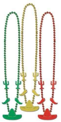Fiesta Beads (asstd gold, green, red) (3/Card)