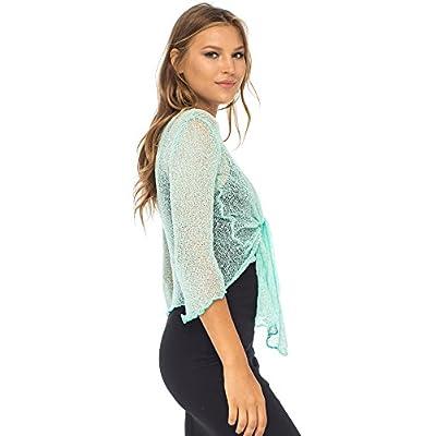 Back From Bali Womens Lightweight Knit Cardigan Shrug Lite Sheer Aqua at Women's Clothing store