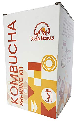 Kombucha Starter Kit with Kombucha SCOBY, Starter Tea, Certified Organic Sugar, Gallon Glass Jar with Lid, Coffee Filters, pH Strips, Thermometer, Tea, Tea Bag, Rubber Band, Instructions Kombucha Kit