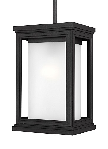 Murray Feiss Outdoor Fixtures (Murray Feiss OL12909TXB Lighting Roscoe One Light Outdoor Hanging Lantern, Textured Black Finish with White Opal Glass)